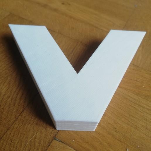 V-Impresion3D.jpg Télécharger fichier GCODE gratuit Lettre V de l'alphabet • Modèle à imprimer en 3D, Molina