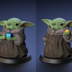 Download STL file Baby Yoda - With Cube and Sith Holocron - Fan Art, genggi