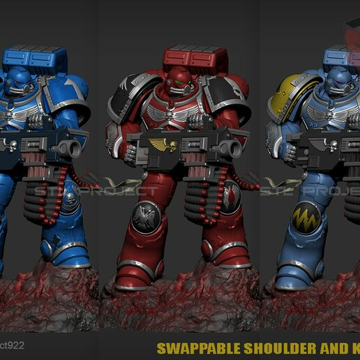 Bolter3.jpg Download STL file Astartes with Heavy Bolter • Model to 3D print, STLProject