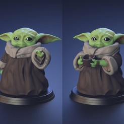 Download 3D printer templates Baby Yoda - Using The Force and Drinking water - Fan Art, genggi