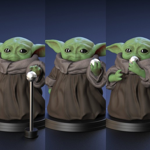 Download 3D print files Baby Yoda - Holding Chewing and  Reaching for the Ball - Fan Art, genggi