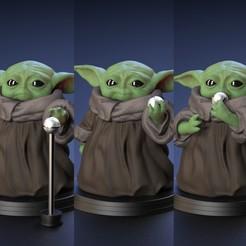 Impresiones 3D Baby Yoda - Sosteniendo la masticación y alcanzando el balón - Fan Art, STLProject