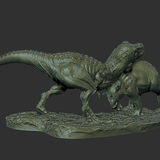 Dinosaur Statue 1.jpg Télécharger fichier STL gratuit Statue du diorama des dinosaures • Design pour imprimante 3D, STLProject