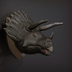 Download free 3D printer designs Triceratops - Head Wall, STLProject