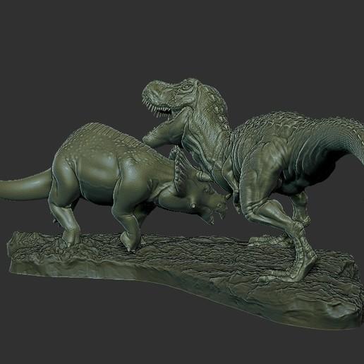 Dinosaur Statue 4.jpg Télécharger fichier STL gratuit Statue du diorama des dinosaures • Design pour imprimante 3D, STLProject
