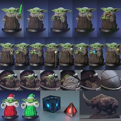 babyyoda-D-2.jpg Télécharger fichier STL Ensemble Baby Yoda - Fan Art • Objet à imprimer en 3D, STLProject