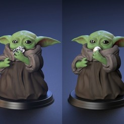 Download 3D printer templates Baby Yoda - Chewing the Necklace and Ball - Fan Art, genggi