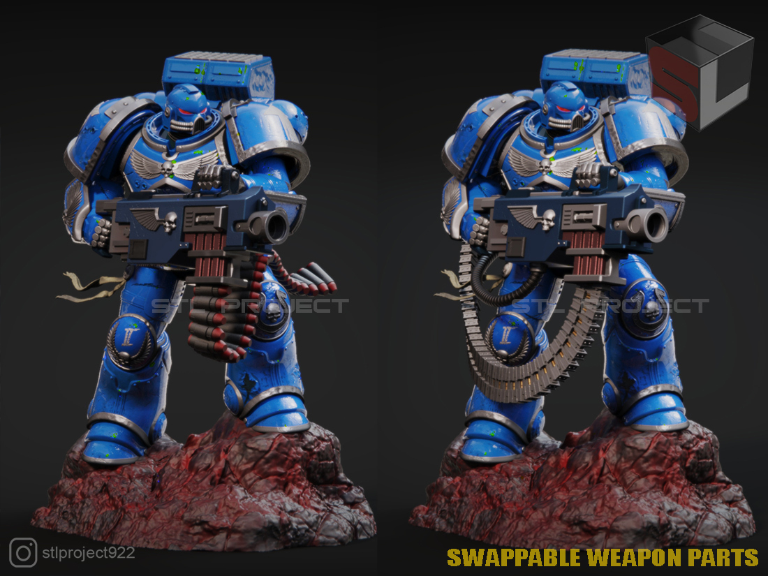 Bolter1.jpg Download STL file Astartes with Heavy Bolter • Model to 3D print, STLProject