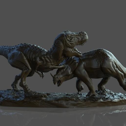 Dinosaur Statue.jpg Télécharger fichier STL gratuit Statue du diorama des dinosaures • Design pour imprimante 3D, STLProject