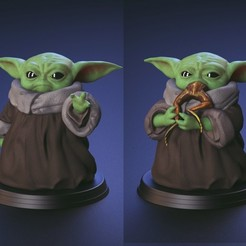 Download 3D printing models Baby Yoda - Using The Force and Eating frog - Fan Art, genggi