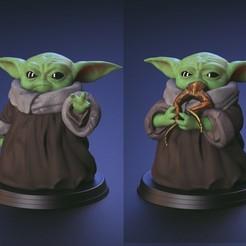 Descargar archivos STL Baby Yoda - Usando la fuerza y comiendo rana - Fan Art, STLProject