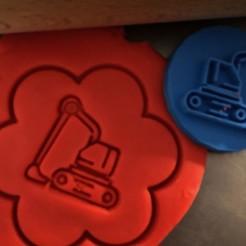 d.jpg Download STL file Cookie stamp + cutter -  Excavator, digger II • 3D print object, Tvoritko