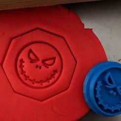 scary emoji raítko.jpg Télécharger fichier STL Timbre à biscuit + cutter - emoji effrayant • Objet pour impression 3D, Tvoritko