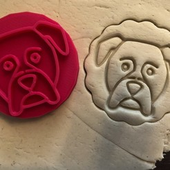 boxer 2.jpg Download STL file Cookie stamp + cutter - Boxer dog 1 • 3D printer model, Tvoritko