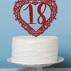 Zápich srdce 18.jpg Download STL file Cake Topper- 18 birthday • 3D printing design, Tvoritko
