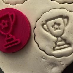 pohár.jpg Download STL file Cookie stamp + cutter -  Trophy  • 3D printing template, Tvoritko