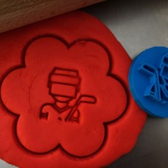 1 1.jpg Download STL file Cookie stamp + cutter -  Hockey player III • 3D printer model, Tvoritko