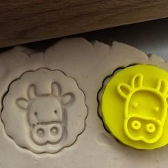 kráv2a.jpg Download STL file Cookie stamp + cutter -  Cow • 3D printer template, Tvoritko