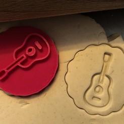 Télécharger fichier imprimante 3D Timbre à biscuit + cutter - Guitare, Tvoritko
