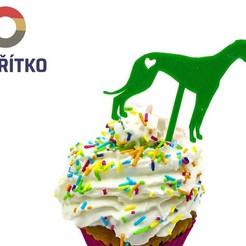 zápich chrt 2.jpg Download STL file Cupcake Topper -  Greyhound dog 2 • Model to 3D print, Tvoritko