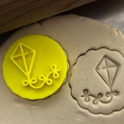 drak2 .jpg Download STL file Cookie stamp + cutter -  Kite • 3D printer template, Tvoritko