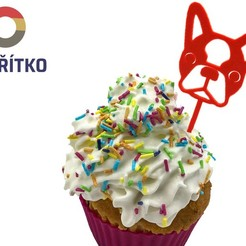 zápich 2.jpg Download STL file Cupcake Topper -  Boston Terrier • 3D printer model, Tvoritko