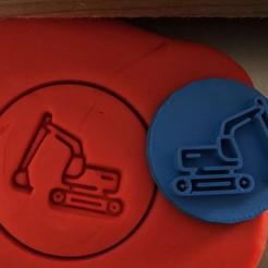 b.jpg Download STL file Cookie stamp + cutter -  Excavator, digger IV • 3D printable design, Tvoritko