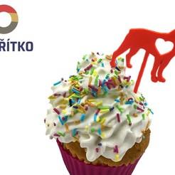 zápich 3.jpg Download STL file Cupcake Topper -  Boston Terrier 3 • Model to 3D print, Tvoritko