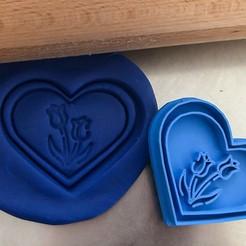 srdce tulipáány.jpg Download STL file Cookie cutter - Heart - tulip • 3D printable template, Tvoritko
