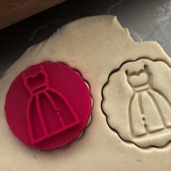 šaty.jpg Download STL file Cookie stamp + cutter -  Dress • 3D printing design, Tvoritko