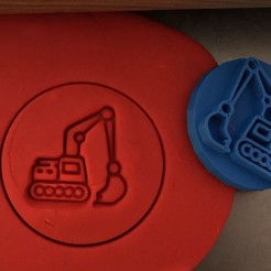 a.jpg Download STL file Cookie stamp + cutter -  Excavator, digger V • 3D print object, Tvoritko