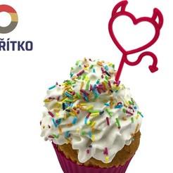 Impresiones 3D Cupcake Topper - Devil Heart, Tvoritko