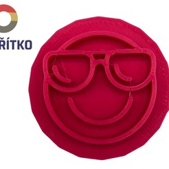 emoji brýle.jpg Télécharger fichier STL Timbre à biscuit + cutter - Emoji 5 • Modèle pour imprimante 3D, Tvoritko