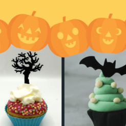 halloween banner .png Download STL file Cupcake Topper -  Halloween set -  9 types • 3D printable template, Tvoritko