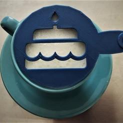 Download 3D printing models Coffee stencil - Birthday cake, Tvoritko