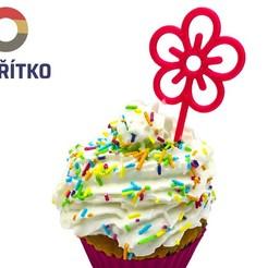 Download 3D printer model Cupcake Topper -  Flower, Tvoritko