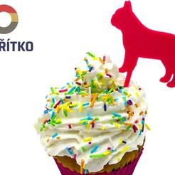 fr.buldog stick 2.jpg Download STL file Cupcake Topper -  French Bulldog 2 • 3D printing template, Tvoritko