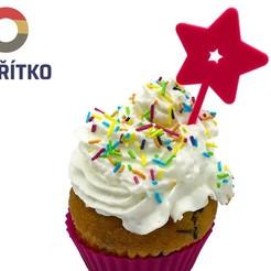 hvězda zápich.jpg Download STL file Cupcake Topper -  Star • 3D printing object, Tvoritko