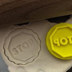 stopka.jpg Download STL file Cookie stamp + cutter -  Traffic sign Stop • 3D printer object, Tvoritko