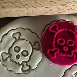 Download 3D print files Cookie stamp + cutter -  Skull, skeleton, Tvoritko