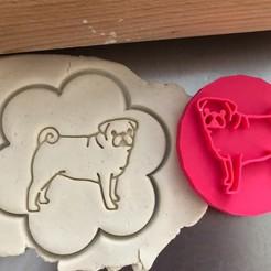 Mops III.jpg Download STL file Cookie stamp + cutter -  Pug dog 1 • 3D printer model, Tvoritko