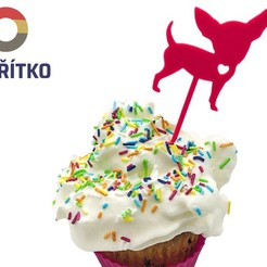 čivava zápich.jpg Download STL file Cupcake Topper -  Chihuahua dog • 3D print design, Tvoritko