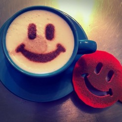 Download STL file Coffee stencil -  Emoji smile, Tvoritko