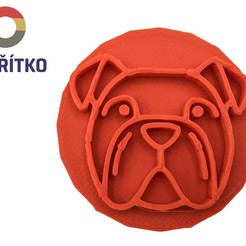 Buldog 3.jpg Download STL file Cookie stamp + cutter - English bulldog 3 • 3D printer object, Tvoritko