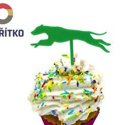zápich chrt 3.jpg Download STL file Cupcake Topper -  Greyhound dog 3 • 3D print design, Tvoritko