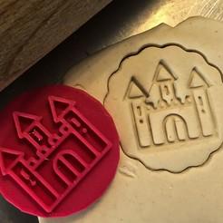 Télécharger fichier impression 3D Timbre à biscuit + cutter - Château, Tvoritko
