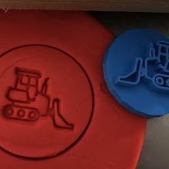 c.jpg Download STL file Cookie stamp + cutter -  Excavator, digger III • 3D printable design, Tvoritko