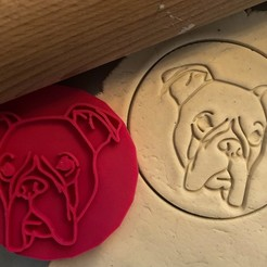 boxer 1.jpg Download STL file Cookie stamp + cutter - Boxer dog 2 • 3D printing model, Tvoritko