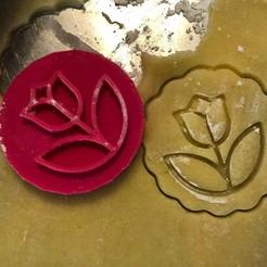 Download 3D print files Cookie stamp + cutter -  Tulip - Flower, Tvoritko