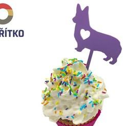 pembroke zápich.jpg Download STL file Cupcake Topper -  Corgi Pembroke dog • 3D printer design, Tvoritko